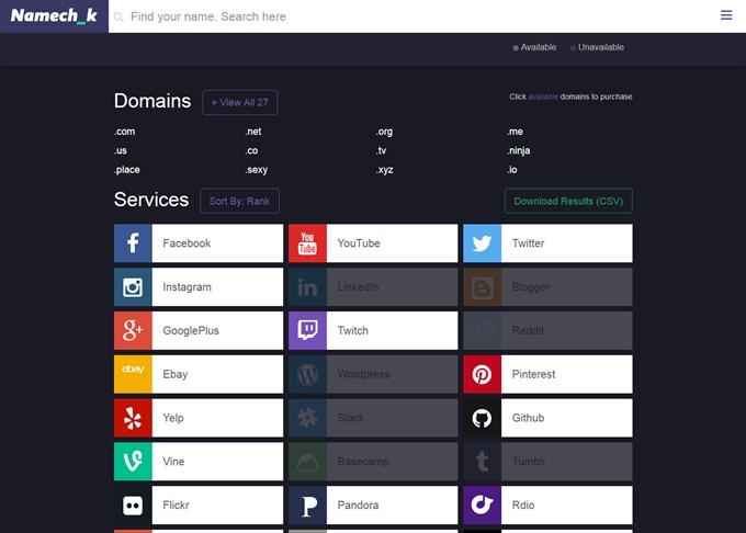 Namechk  Username & Domain Search