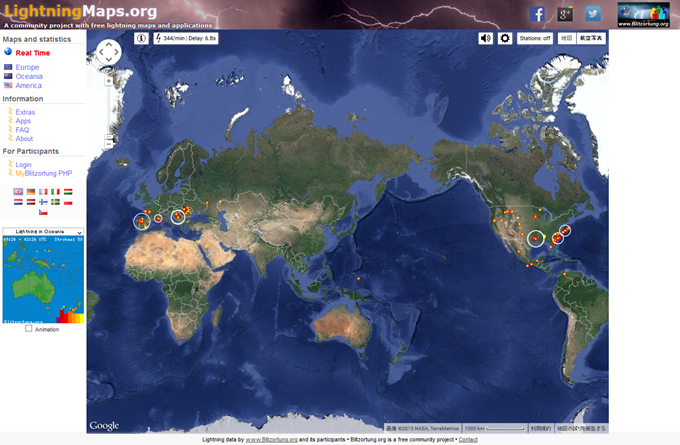 Real-Time Lightning Map -- LightningMaps.org