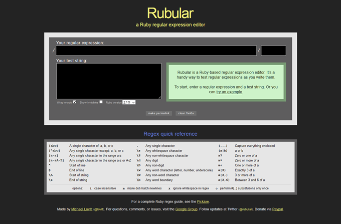 Rubular- a Ruby regular expression editor and tester