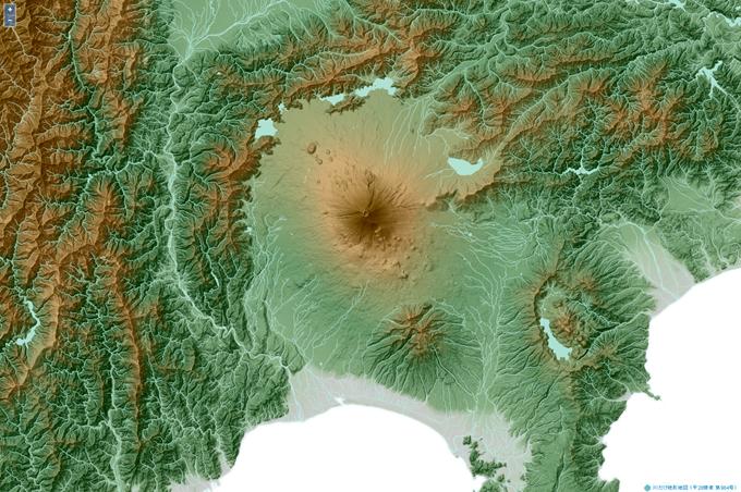 川だけ地形地図(富士山周辺)
