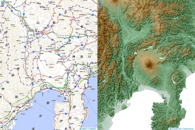 川だけ地形地図比較用(富士山周辺)