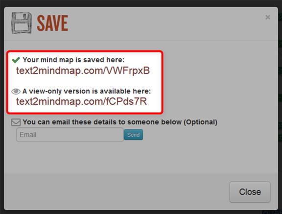 テキストマインドマップをシェアするためのURLが表示される
