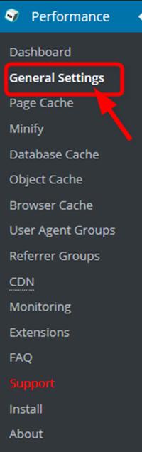 W3 Total Cacheの管理画面のメニュー