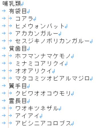 哺乳類の分類表テキスト