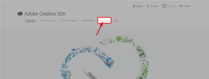 Adobe Creative SDKにサインインした後Appsをクリック