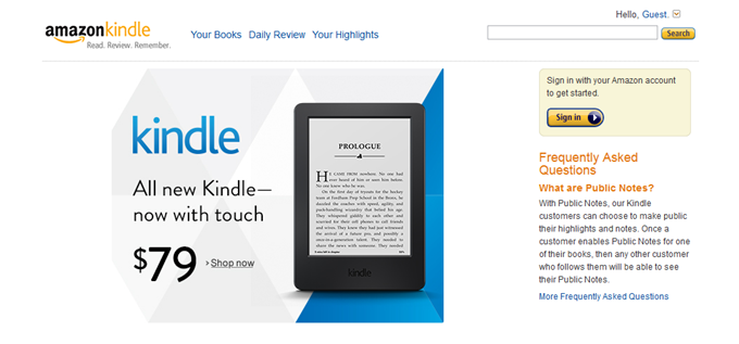 Amazon Kindleサイト