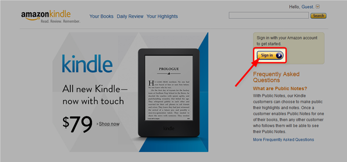 Amazon Kindleサイトでサインインする