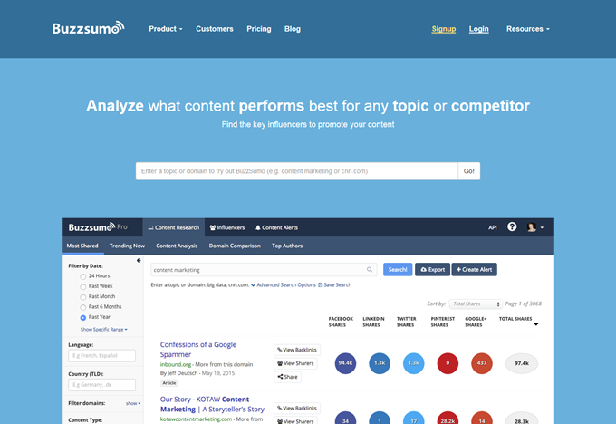 BuzzSumo- Find the Most Shared Content and Key Influencers