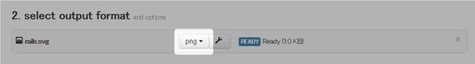 CloudConvertで画像形式をPNGに選択