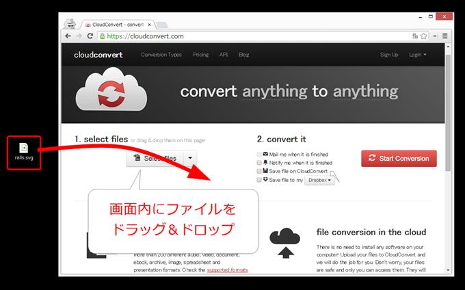 CloudConvertにファイルをドラッグ&ドロップ