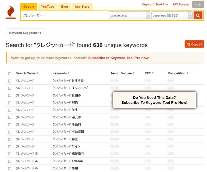 クレジットカードでKeyword Tool調査