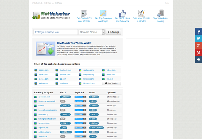 Net Valuator - Website Worth - Web Stats and SEO Tools