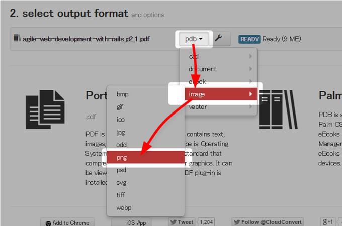 PDF→PNGを選択する