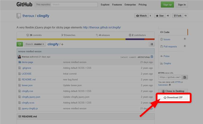 Clingify zipファイルのダウンロード