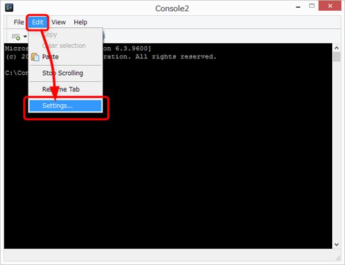 Console2の設定画面を開く