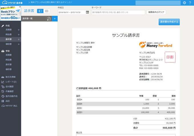 請求書作成ソフト「MFクラウド請求書」のログイン後の画面
