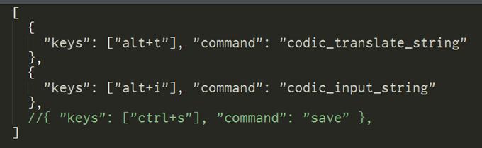SublimeCodic用のキーバインド設定