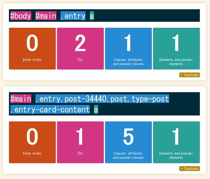 CSSセレクタの比較