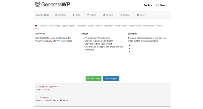 Generate WordPress WP_Query