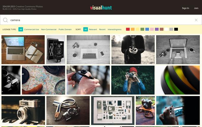 Visual HuntではCC0写真が優先して検索結果に表示される