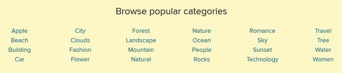 人気キーワードがカテゴリ化されている