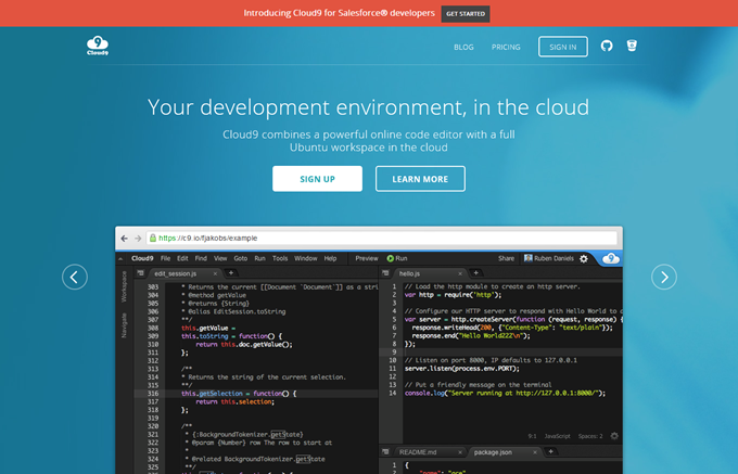 Cloud9 - Your development environment, in the cloud