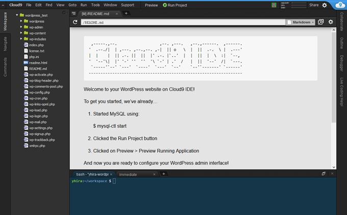 Cloud9のWordpressワークスペース