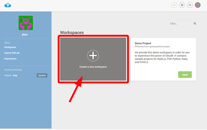 Cloud9のダッシュボード画面