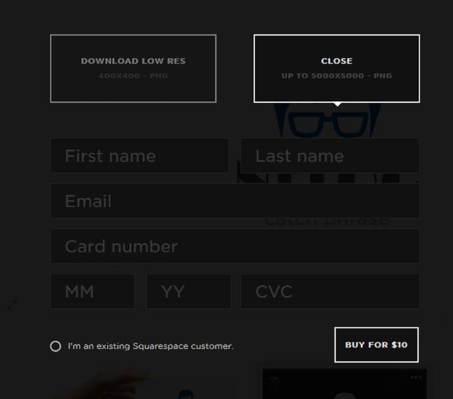 Squarespaceのクレジットカード情報入力画面
