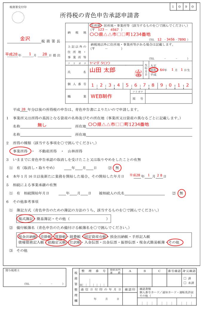 青色申告申請書の記入例