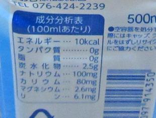 日本調剤の成分分析表(100mlあたり)
