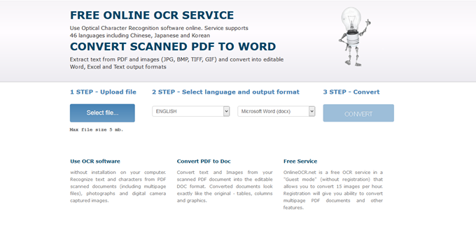 Free Online OCR - convert scanned PDF and images to Word, JPEG to Word