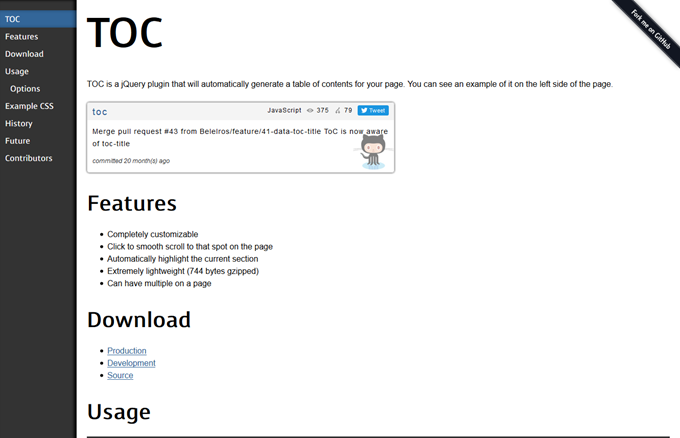 TOC jQuery Table of Contents Plugin