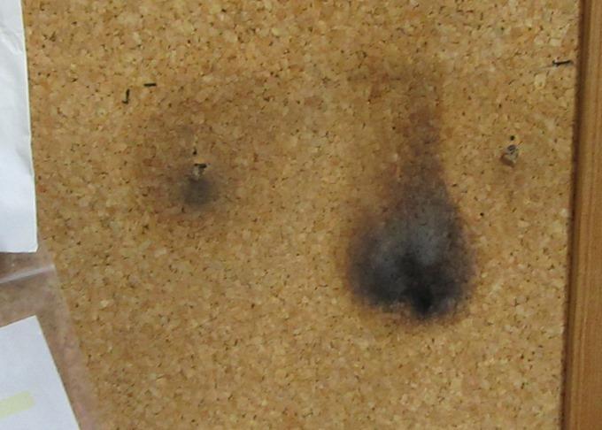 コルクボードの焦げ跡