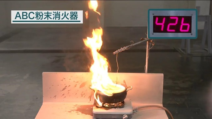 通常の粉末消火器で消火前