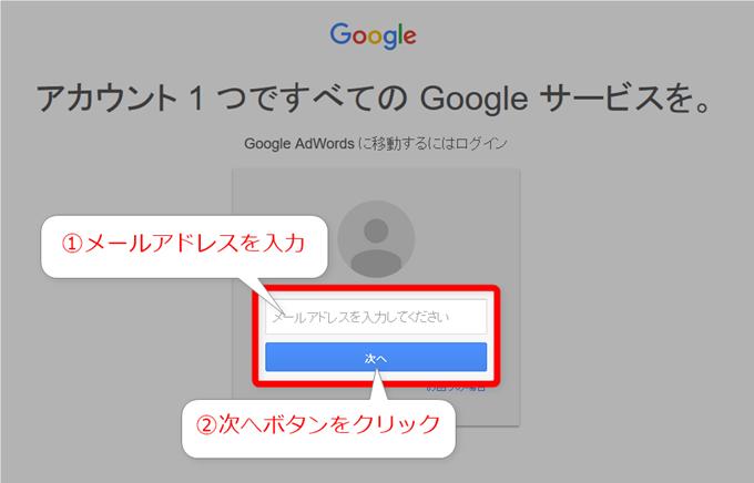 Google AdWords に移動するにはログイン