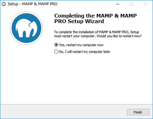 MAMPのインストールが完了後コンピューターの再起動が促される