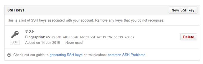 SSHキーがGitHubに登録される