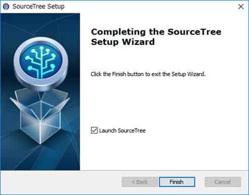 SourceTreeのインストール完了画面