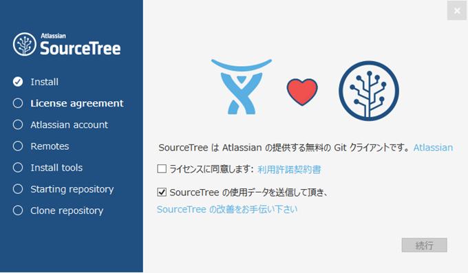 SourceTreeの起動画面