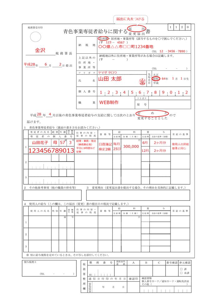 青色事業専従者給与に関する届出・変更届出書