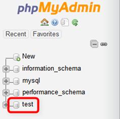 テスト用のデータベースがあらかじめ作成してある