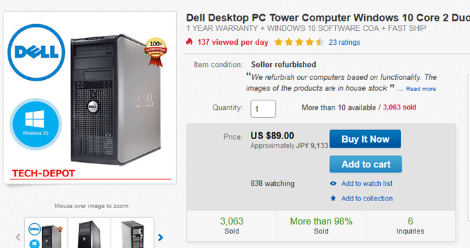 Dell Desktop PC Tower Computer Windows 10 Core 2 Duo 4GB RAM 250GB HD Fast eBay