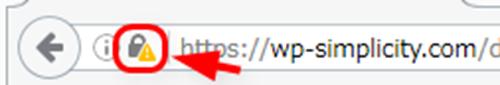 Firefoxの安全でない鍵マークをクリック