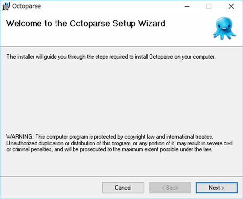 Octoparseのインストーラー画面