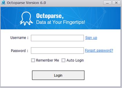 Octoparseのログインダイアログ