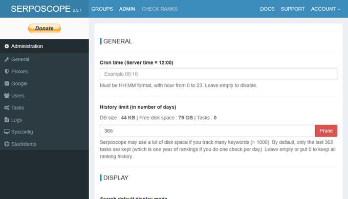 Serposcopeの基本設定画面