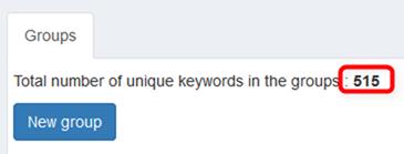 現在のキーワード登録数
