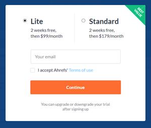 現在はAhrefsは有料プランに登録しないと無料利用できない