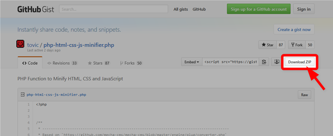 PHP Function to Minify HTML, CSS and JavaScript · GitHub